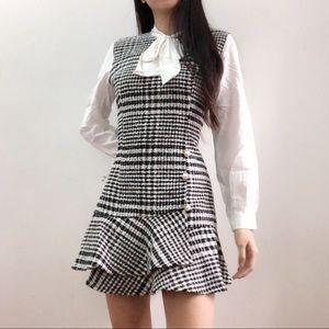 black tweed plaid dress (one piece)